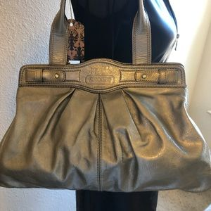 Coach Large Tote Pewter/Gold Mint Condition